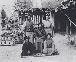 Lungshar and the four Tibetan students just before leaving for England.jpg