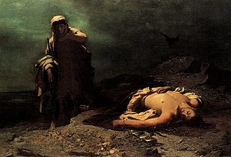 Either/Or - Antigone in front of the dead Polynices, painting by Nikiphoros Lytras, National Gallery, Athens, Greece (1865).