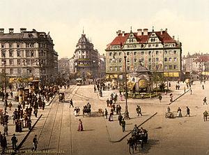 """Hotel Königshof - The Munich Karlsplatz (""""Stachus""""), view in western direction, postcard from late 19th century."""