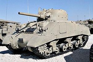 Post–World War II Sherman tanks - Medium Tank M4A4 Sherman V, a major export type during World War II, in Yad la-Shiryon Museum, Israel.