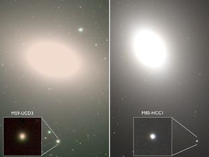 M85-HCC1 - Images of two ultracompact dwarf galaxies. M85-HCC1 is in the inset to the right, while M59-UCD3 is in the inset to the left.