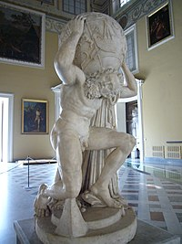 Farnese Atlas, a 2nd century Roman copy of a Hellenistic work (Naples)