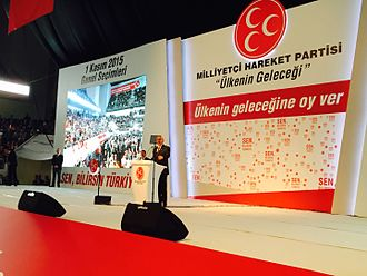 Turkish general election, November 2015 - MHP leader Devlet Bahçeli announcing his party's election manifesto on 3 October