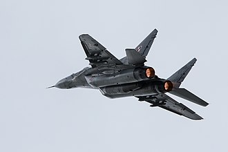 Multirole combat aircraft - Polish Air Force Mikoyan MiG-29, a multirole fighter with emphasis on air superiority.