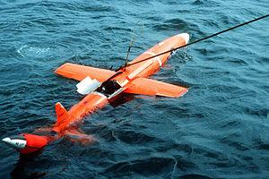Northrop BQM-74 Chukar - MQM-74C Chukar II floating and being recovered.