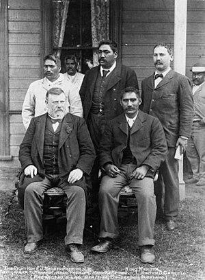 Richard Seddon - James Carroll (second row, far right). Front row from left: Richard Seddon, Mahuta Tāwhiao, Māori King. Second row from left: Tupu Taingakawa Te Waharoa, Māori Kingmaker; Henare Kaihau, MP. Taken at Huntly, New Zealand in 1898