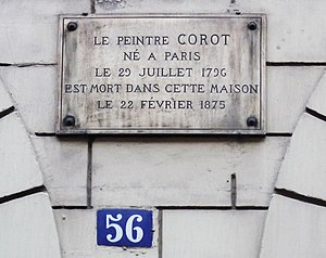 1875 in art - Plaque on the home of Camille Corot where he died aged 78 on 22 February 1875 at 56, rue du Faubourg-Poissionnière, 10th arrondissement of Paris
