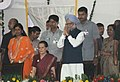 Manmohan Singh and the Chairperson, National Advisory Council, Smt. Sonia Gandhi at the Dussehra celebrations, at Red Fort Ground on the auspicious occasion of Vijay Dashmi, in Delhi on October 06, 2011.jpg