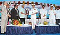 Manohar Parrikar handed over the documents of Maareech-Advanced Torpedo Defence System developed by the DRDO to the Chief of Naval Staff, Admiral R.K. Dhowan, at Visakhapatnam on November 14, 2015.jpg