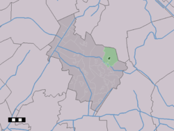 The village centre (dark green) and the statistical district (light green) of Elp in the municipality of Midden-Drenthe.