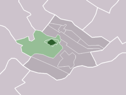 The village (darkgreen) and the statistical district (lightgreen) of Cothen in the municipality of Wijk bij Duurstede.