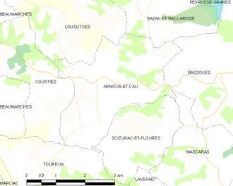 Armous-et-Cau - Armous-et-Cau and its surrounding communes