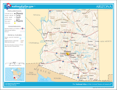 TemplateLocation Map USA Arizona Wikipedia - Arizona map of usa