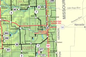 Bourbon County, Kansas - Image: Map of Bourbon Co, Ks, USA