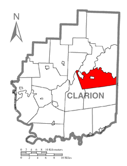 Map of Clarion County, Pennsylvania highlighting Clarion Township