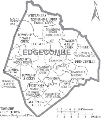 Edgecombe County, North Carolina - Map of Edgecombe County, North Carolina With Municipal and Township Labels