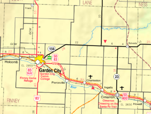 Holcomb, Kansas - Image: Map of Finney Co, Ks, USA