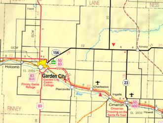 Finney County, Kansas - Image: Map of Finney Co, Ks, USA
