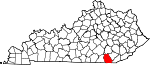 State map highlighting Whitley County