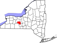 Map of New York highlighting Yates County