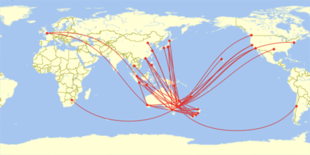 Map of Qantas International Destinations (as of 2019) Map of Qantas Airways Destinations 2019.png