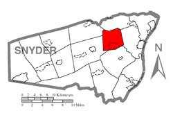 Map of Snyder County, Pennsylvania highlighting Middlecreek Township