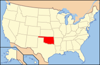 Map of the USA highlighting Oklahoma