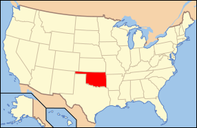 Map of the United States with اکلاهوما highlighted