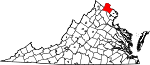 State map highlighting Loudoun County