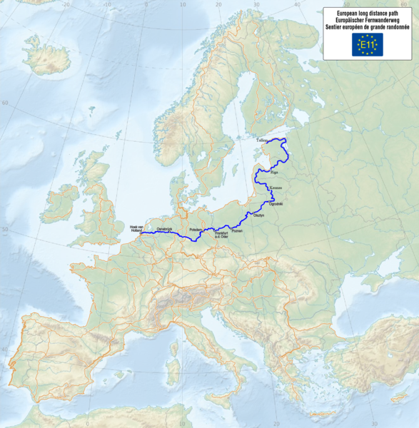 Tiedosto:Map of the European Long Distance Path E11.png