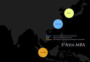 S3 Asia MBA - Map of cities and schools in S³ Asia MBA