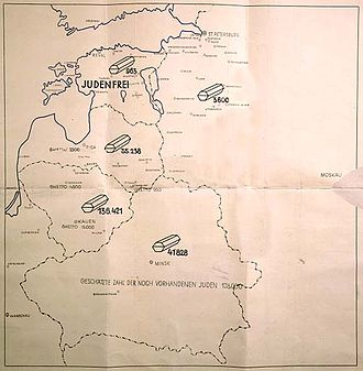"German occupation of Estonia during World War II - Map titled ""Jewish Executions Carried Out by Einsatzgruppe A"" from January 31, 1941 report by commander Stahlecker of a Nazi death squad. Marked ""Secret Reich Matter,"" the map shows the number of Jews shot in Ostland, and reads at the bottom: ""the estimated number of Jews still on hand is 128,000"". Estonia is marked as judenfrei."