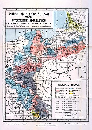 East Prussian plebiscite 1920 - Map of the eastern parts of Prussia, showing the percentage of ethnic Poles.
