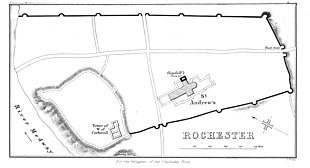 The city is defined by a wall in the shape of a trapezium, will the River Medway on the western side. Rochester Castle is in the south-west corner of the walls.