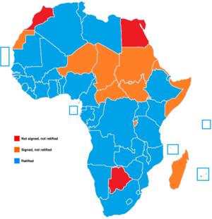 Maputo Protocol - Current map of the Maputo Protocol's ratification process.