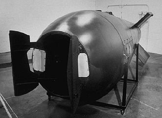 Mark 5 nuclear bomb - The Mark 5 nuclear bomb (open doors at front are for insertion of nuclear core)