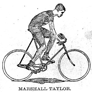 Marshall Taylor - The earliest press image of Taylor, around 16 years old, from unidentified 1895 newspaper