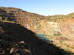 English: The abandoned uranium mine at Mary Ka...