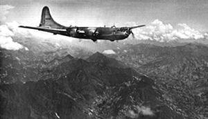 """Operation Matterhorn - 40th Bombardment Group B-29 crossing the Himalaya Mountains """"Hump"""" flying from India to China"""
