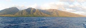 Maui photographed from the sea (west coast)