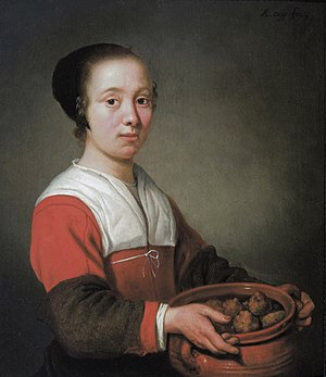 Oliebol - Young woman with a cooking pot filled with oliebollen (Aelbert Cuyp, ca. 1652)