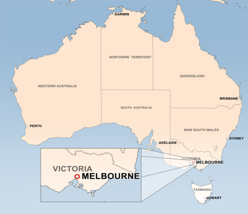 Мельбурн на карте