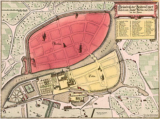 History of Berlin - Map of Berlin and Cölln (1652, East on top)