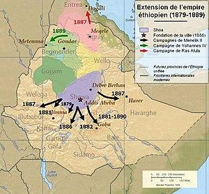 Menelik II - Menelik's campaigns 1879–89