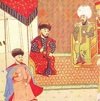 Mehmed I Giray - Meñli I Giray (centre) with the eldest son, future khan Mehmed I Giray (left) and Ottoman sultan Bayezid II (right).