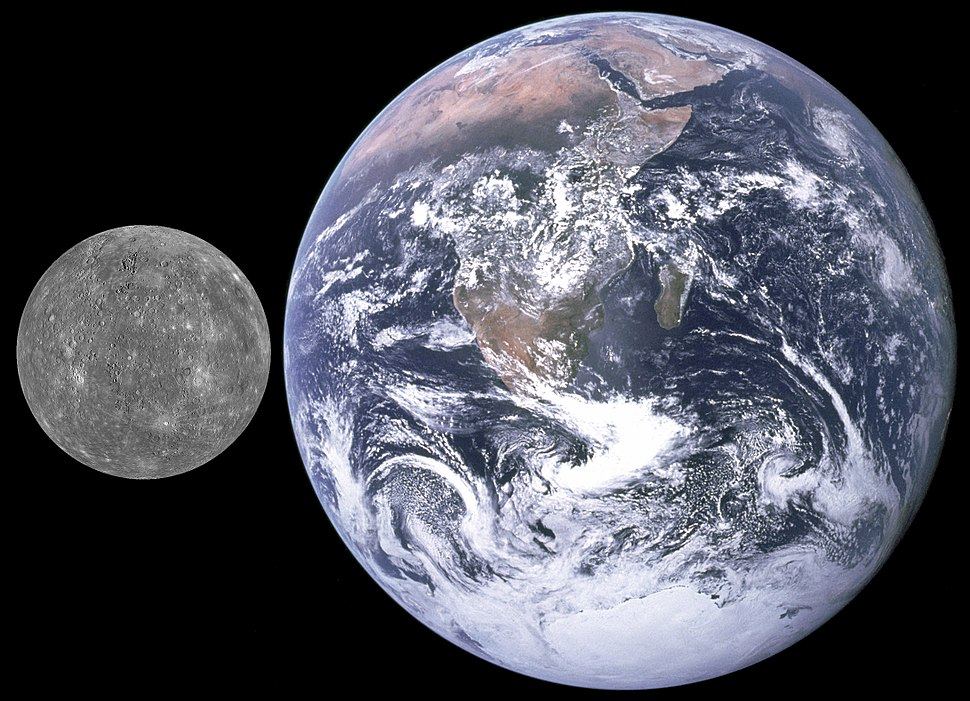Mercury, Earth size comparison
