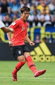 2f52c42f7d8 Mex-Kor (38) (cropped3).jpg. Kim with South Korea at the 2018 FIFA World Cup