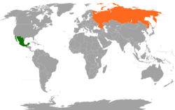 Map indicating locations of Mexico and Russia