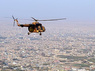 Mazar-i-Sharif - Image: Mi 17 helicopter flies over the northern Afghan city croped