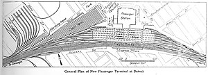 Michigan Central Station - MCRR Terminal track diagram (1914)
